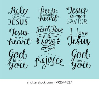 Set of 9 Hand lettering christian quotes God bless you. Rely on Jesus. Rejoice. Faith, hope, love. Keep your heart. Biblical background. Poster. Modern calligraphy Card Scripture