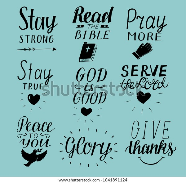 Set 9 Hand Lettering Christian Quotes Stock Image | Download Now