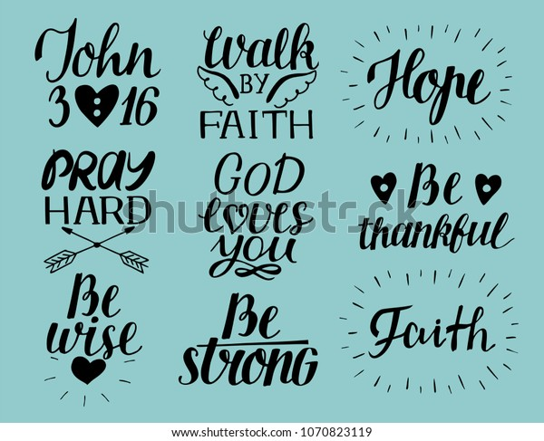 set hand lettering christian quotes stock image now
