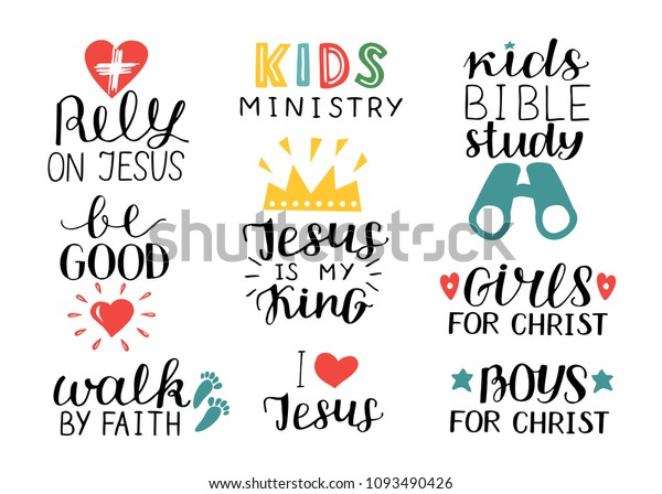 Set 9 Hand Lettering Christian Quotes Stock Vector (Royalty