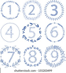 Set of 9 hand-draw vector victory laurel wreaths and floral numbers for wedding, stationary, branding or table number. Easy to change colors.
