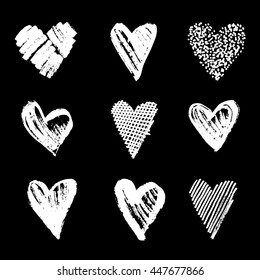 a set of 9 hand-drawn isolated  hearts in a scribble, doodle, rust or chalk style