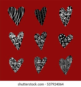 a set of 9 hand-drawn isolated  hearts in a scribble, doodle, rust or chalk style; vector design elements; textured style