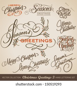 Set of 9 hand-lettered CHRISTMAS GREETINGS -- handmade calligraphy, vector (eps8)