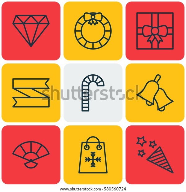 Set Of 9 Happy New Year Icons. Includes Gift Surprise, Lollipop, Brilliant And Other Symbols. Beautiful Design Elements.