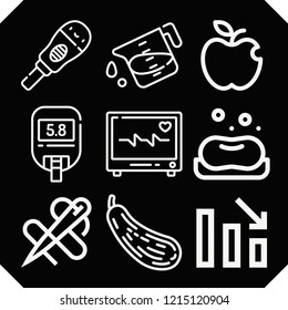 Set of 9 health outline icons such as butternut squash, soap, apple, loss, liter, pregnancy, heart, needle