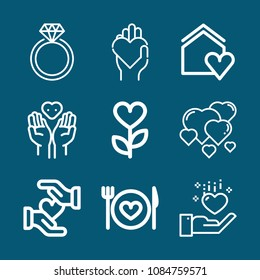 Set of 9 heart outline icons such as home, ring, hearts, heart, solidarity, donation symbol