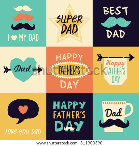 Set Of 9 Hipster Fathers Day Or Birthday Card Template Designs With Mustaches Stars