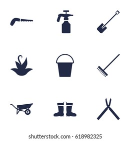 Set Of 9 Horticulture Icons Set.Collection Of Shovel, Wheelbarrow, Hacksaw And Other Elements.