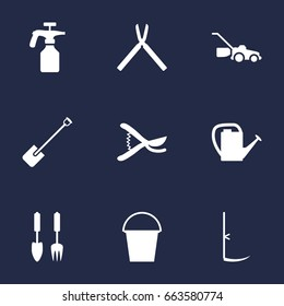 Set Of 9 Horticulture Icons Set.Collection Of Tools, Shovel, Cutter And Other Elements.