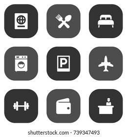 Set Of 9 Hotel Icons Set.Collection Of Airplane, Bedroom, Billfold And Other Elements.