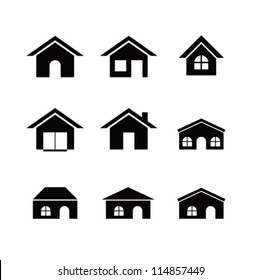 Set of 9 house icon variations