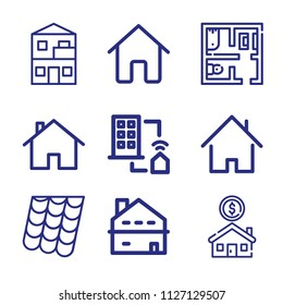 Set of 9 house outline icons such as house outline, home button, duplex, house, roof, interior design