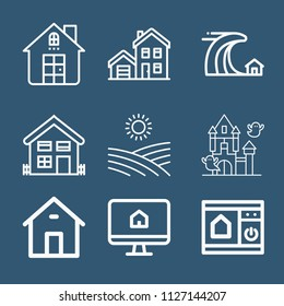 Set of 9 house outline icons such as house, screen, field, homepage, control panel