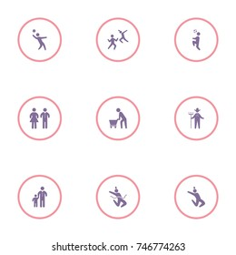 set of 9 human elements such as volleyball, farmer, football, karate and other icons