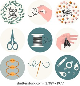 Set of 9 icons for needlework and beading in flat style. Accessories for jewelry, sewing needle, scissors, scheme, hand with thread, spool of thread, beads and lettering. Emblem, logo in natural color