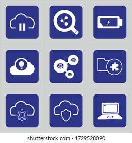 Set of 9 icons such as cloud, break, cloud service, pause, internet, search, education, blue, laboratory