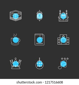 Set of 9 icons, for web, internet, mobile apps, interface design: business, finance, shopping, communication, fitness, computer, media, transportation, travel, easter, christmas, summer, device
