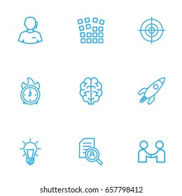 Set Of 9 Idea Outline Icons Set.Collection Of Partnership, Target, Idea And Other Elements.