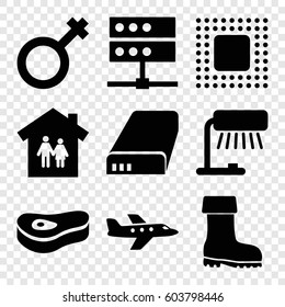 Set Of 9 Illustration Filled Icons Such As Boot Male Battery Meat
