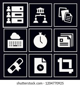 Set of 9 interface filled icons such as multiple files, newspaper, ranking, document, stopwatch, crop, certificate, sharing