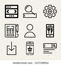Set of 9 internet outline icons such as profile, download, browser, bitcoin, online shopping, search engine, order food