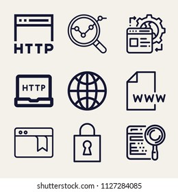Set of 9 internet outline icons such as analysis, lock, search, worldwide, www, http