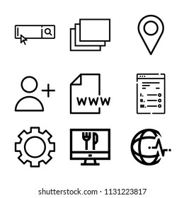 Set of 9 internet outline icons such as windows, placeholder, adduser, setting, global heart beat, www, search engine, order food