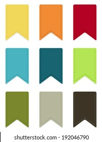 Set of 9 isolated colorful ribbons with light shadow