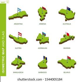 Set of 9 isometric map and flag, 3D vector isometric shape of Argentina, Armenia, Australia, Austria, Azerbaijan, Bahrain, Bangladesh, Barbados, Belarus