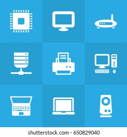 Set Of 9 Laptop Icons Set.Collection Of Microprocessor, Notebook, Laptop And Other Elements.