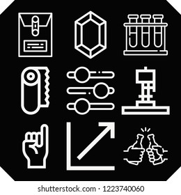 Set of 9 line outline icons such as slider tool, dossier, zelda, earthquake machine, line chart, paper, chemical, promise