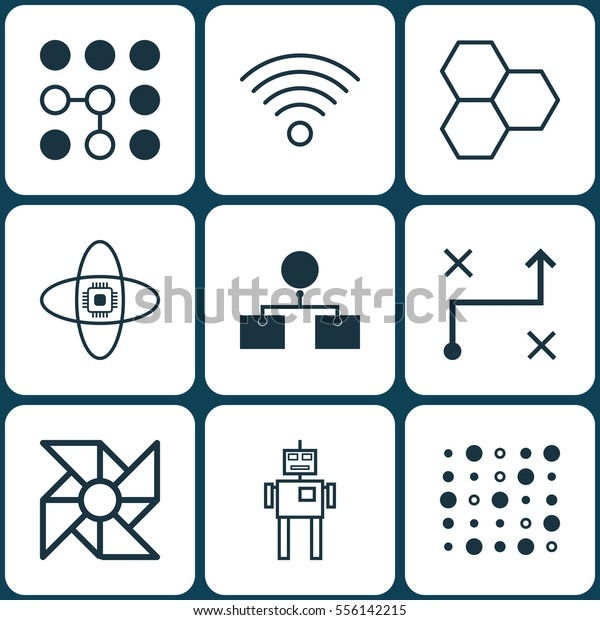 Set 9 Machine Learning Icons Includes Stock Vector Royalty Free