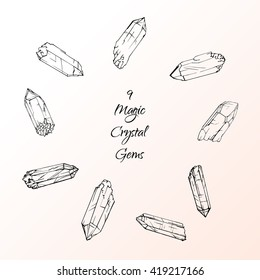 Set of 9 magic crystal gems. Hand drawing crystals. tatto design element