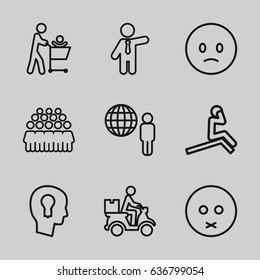 set of 9 man outline icons such as businessman, group, courier on motorcycle, keyhole in head, sad emot