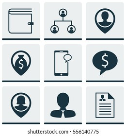 Set Of 9 Management Icons. Includes Employee Location, Manager, Messaging And Other Symbols. Beautiful Design Elements.