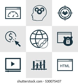 Set Of 9 Marketing Icons. Can Be Used For Web, Mobile, UI And Infographic Design. Includes Elements Such As Security, Connectivity, PPC And More.