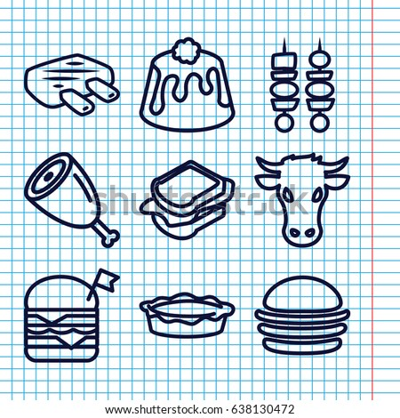 Set 9 Meat Outline Icons Such Stock Vector (Royalty Free