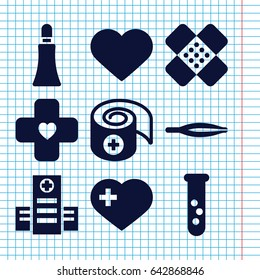Set of 9 medical filled icons such as tweezers, cream tube, heart with cross, hospital, heart, bandage