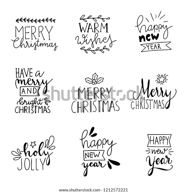 Christmas Card Phrases.Set 9 Merry Christmas Card Posters Stock Vector Royalty