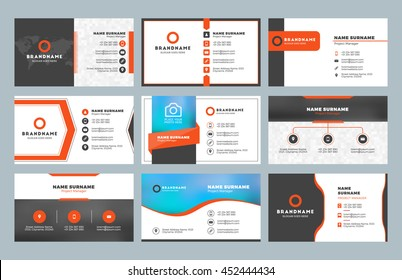 Set of 9 modern business card templates. Business cards with company logo. Clean flat design. Red and black colors. Vector illustration