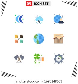 Set of 9 Modern UI Icons Symbols Signs for contact; privacy; globe; data; file Editable Vector Design Elements