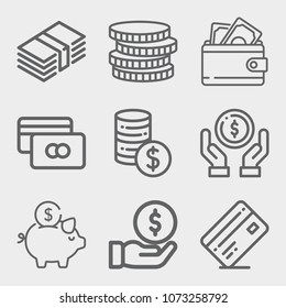 Set of 9 money lineal icons such as coins, money, piggy bank, wallet, currency, credit card