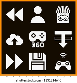Set of 9 multimedia filled icons such as user, fast forward control button, rewind symbol, cloud, console, game store, gamepad, save
