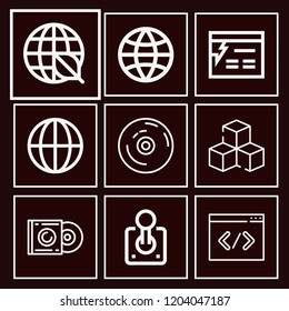 Set of 9 multimedia outline icons such as global, coding, cube, album, vynil, ecology, website