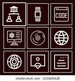 Set of 9 multimedia outline icons such as smartwatch, global, coding, vynil, followers, monitor, shield, website