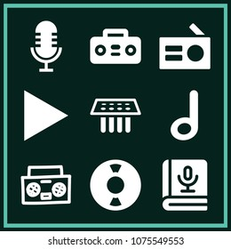 Set of 9 music filled icons such as play button, microphone, book, single note outline, medical samples, retro music player, vynil disc, antique radio