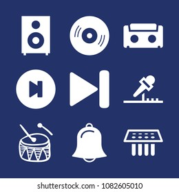 Set of 9 music filled icons such as compact disc, next track, end, drum hand drawn musical percussion instrument, single, medical samples, audiotape, alarm