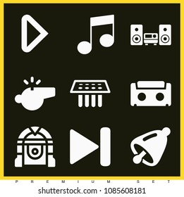 Set of 9 music filled icons such as next track, play button, bell musical instrument, medical samples, audiotape, jukebox, audio equipment, music player