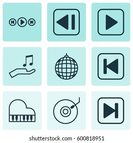 Set Of 9 Music Icons. Includes Skip Song, Start Song, Gramophone And Other Symbols. Beautiful Design Elements.